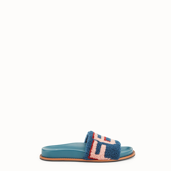 FENDI SLIDES - Flats in leather and multicolour sheepskin - view 1 small thumbnail