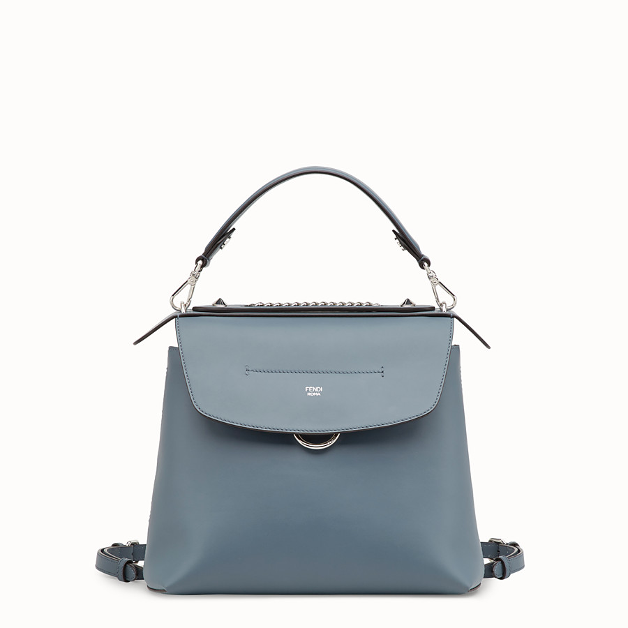 FENDI BACK TO SCHOOL BACKPACK - Small blue leather backpack - view 1 detail