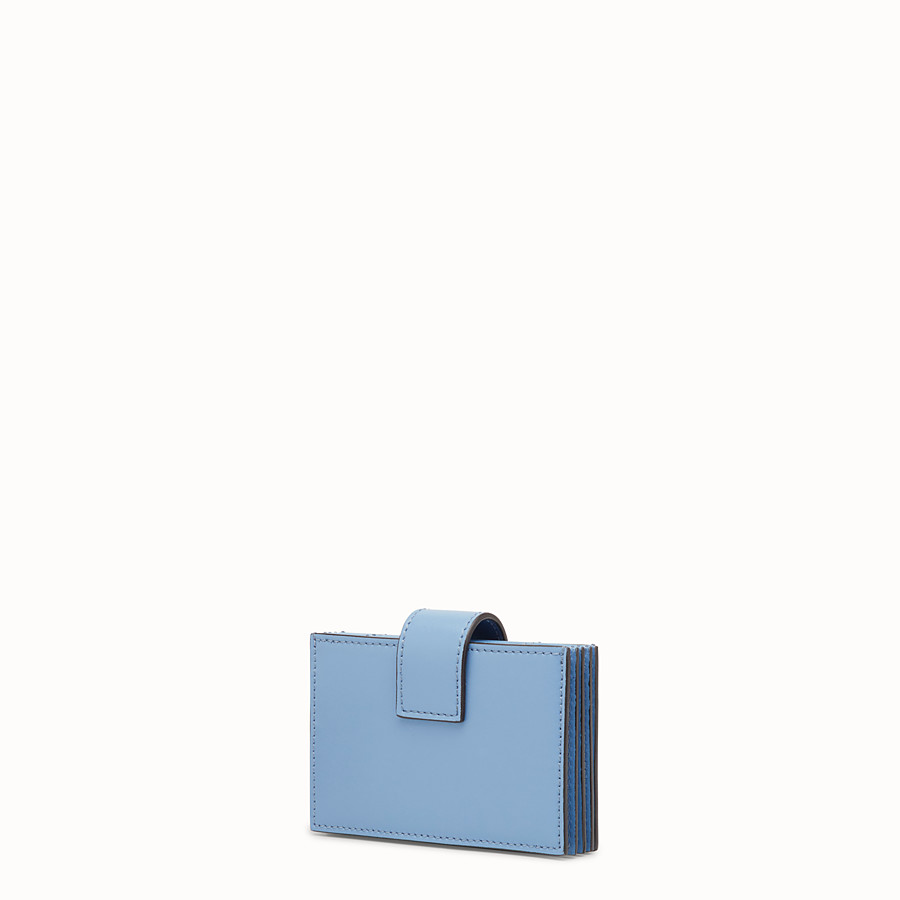 FENDI CARD HOLDER - Light blue leather gusseted card holder - view 2 detail