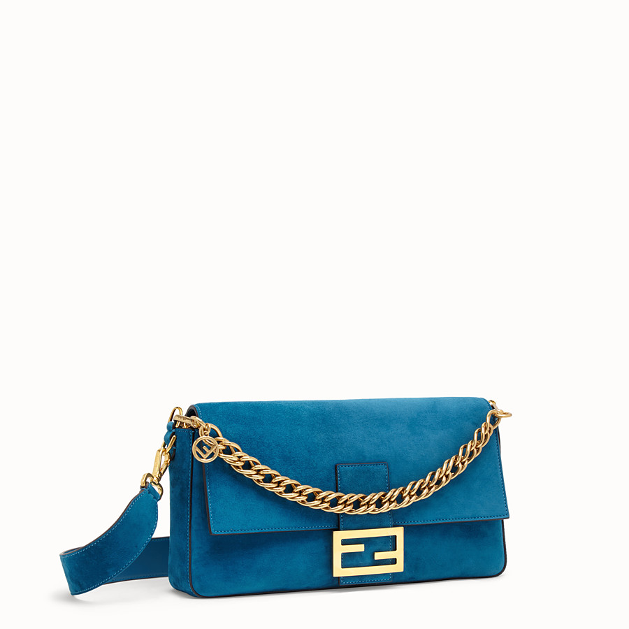 FENDI BAGUETTE LARGE - Light blue suede bag - view 3 detail