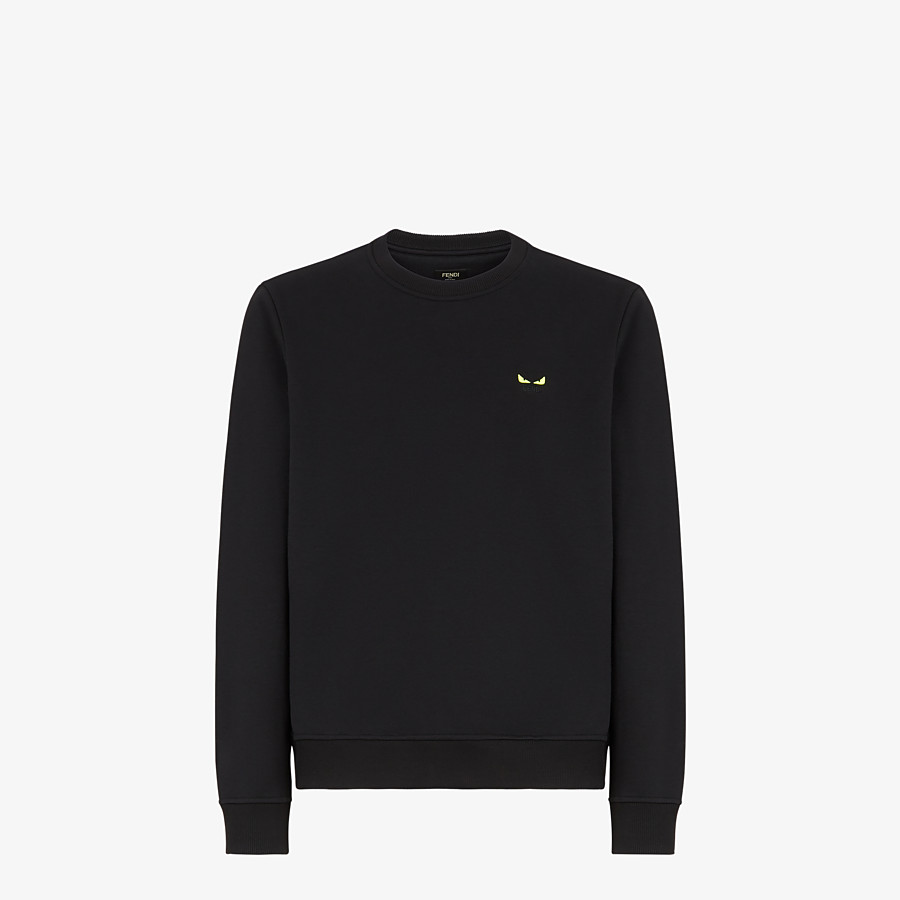 FENDI SWEATSHIRT - Black cotton jersey sweatshirt - view 1 detail