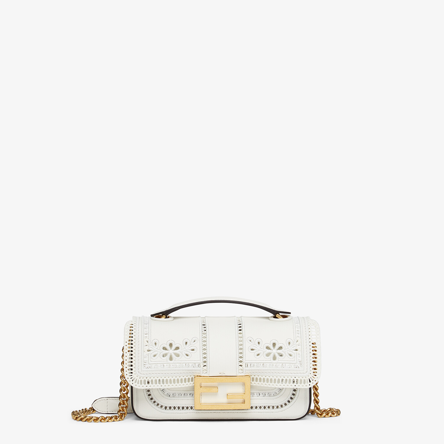 FENDI MINI BAGUETTE CHAIN - Embroidered white leather bag - view 1 detail