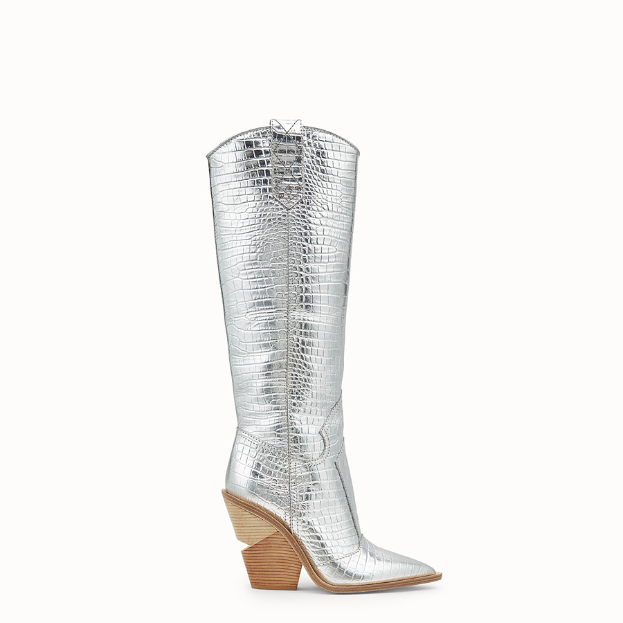 FENDI BOOTS - Silver leather boots - view 1 detail