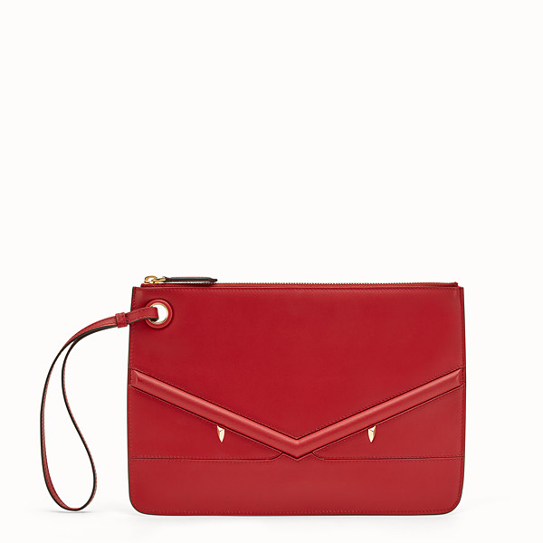 FENDI MEDIUM TRIPLETTE CLUTCH - Red leather clutch - view 1 small thumbnail