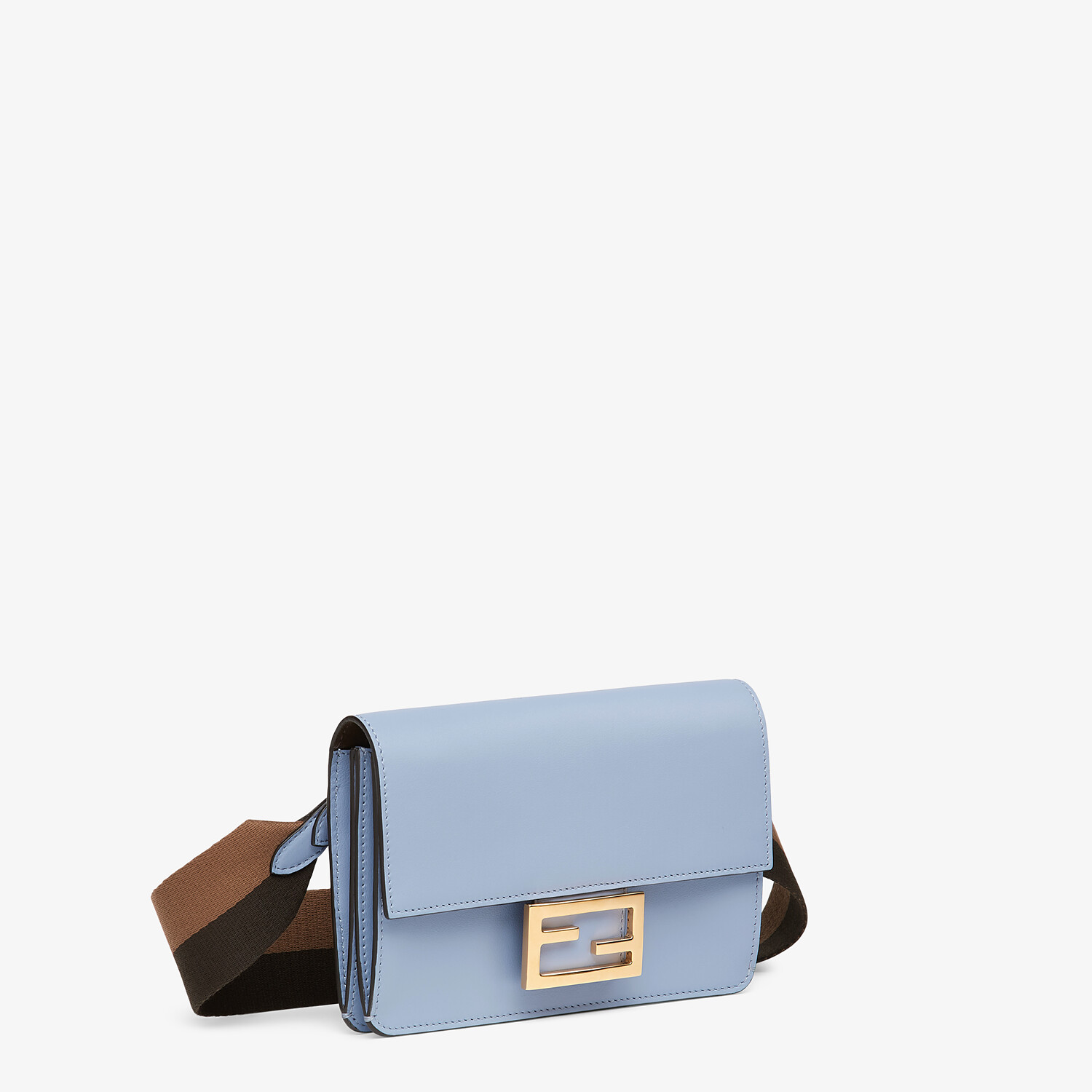 FENDI FLAT BAGUETTE - Light blue leather mini-bag - view 3 detail