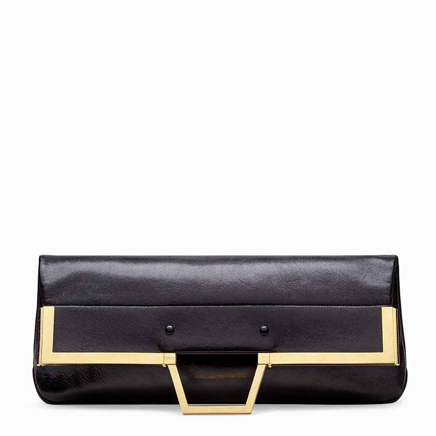 FENDI LARGE FLAT SHOPPING BAG - Black leather shopper - view 3 detail