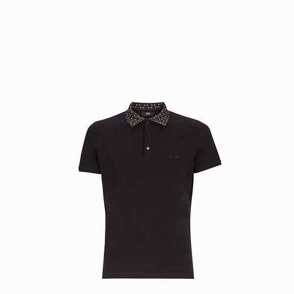 FENDI POLO SHIRT - Black cotton jumper - view 1 small thumbnail
