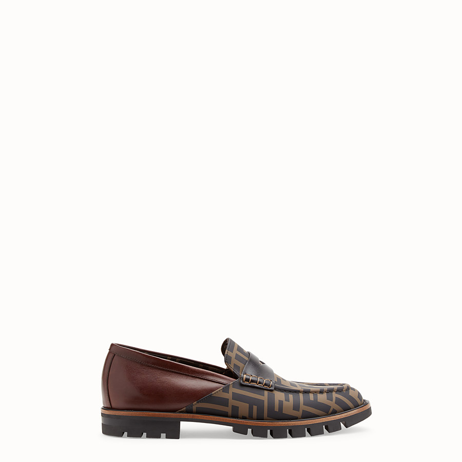 FENDI LOAFERS - Brown leather and TPU loafers - view 1 detail
