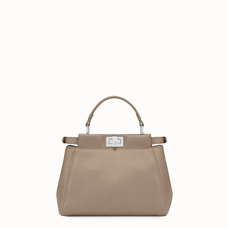 FENDI PEEKABOO MINI - handbag in dove gray nappa - view 3 detail