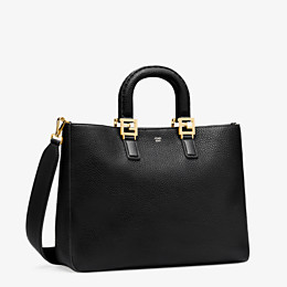FENDI FF TOTE MEDIUM - Black leather bag - view 2 thumbnail