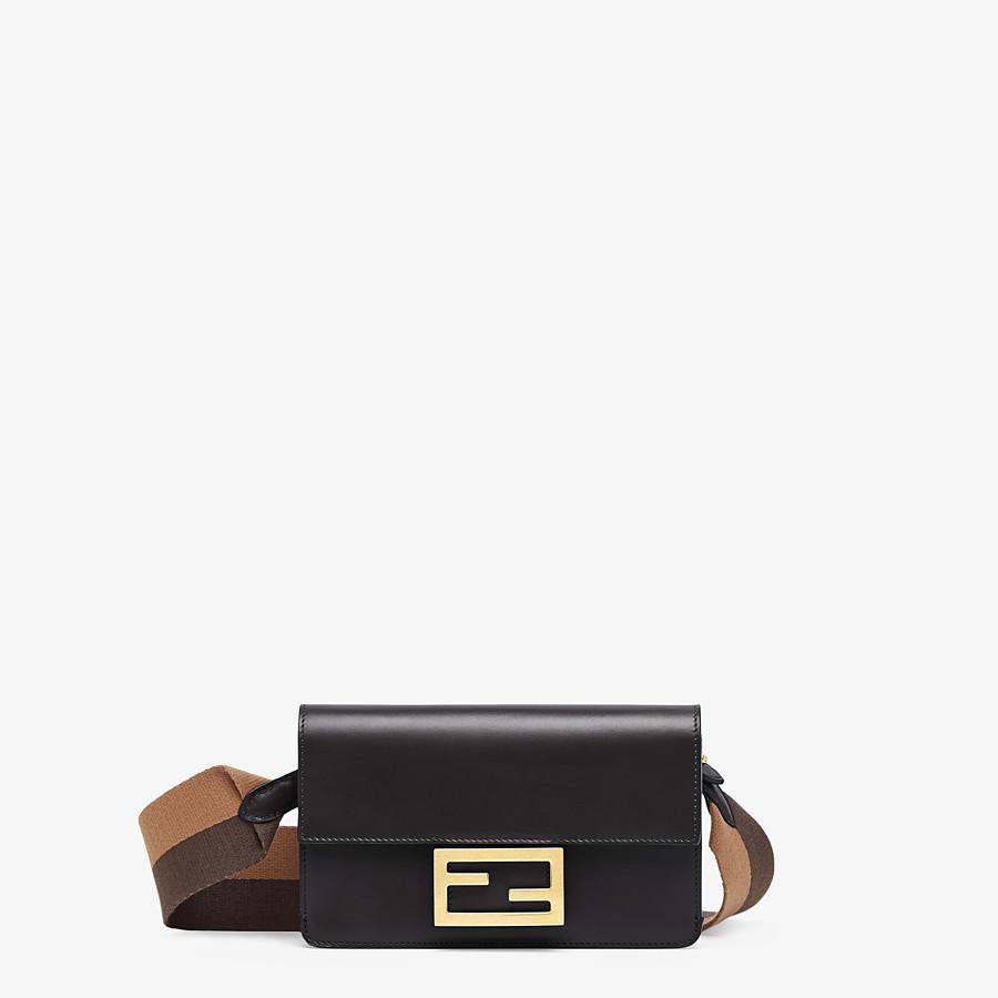 FENDI FLAT BAGUETTE - Black leather mini bag - view 1 detail