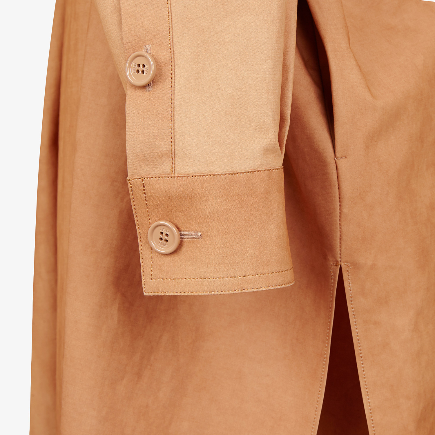 FENDI OVERCOAT - Brown cotton trench coat - view 3 detail