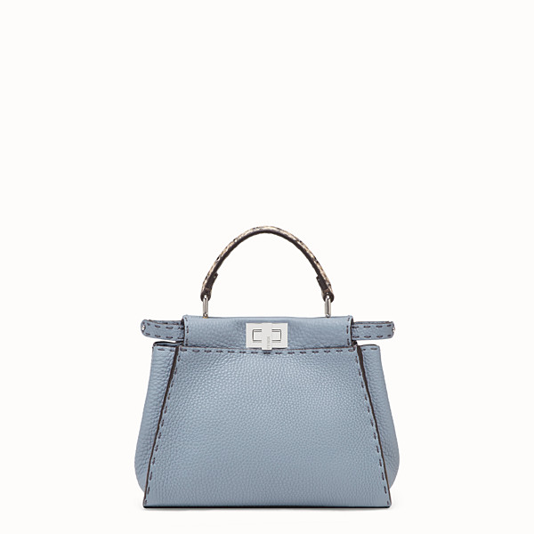 FENDI PEEKABOO ICONIC MINI - Pale blue leather bag with exotic details - view 1 small thumbnail