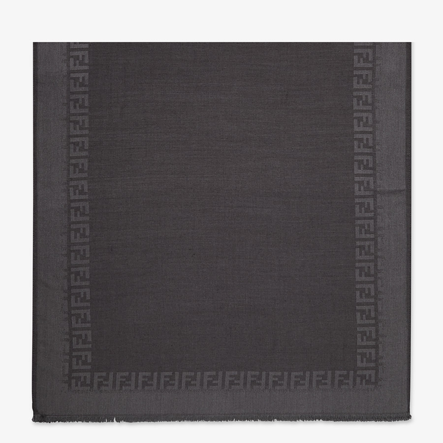 FENDI STOLE - Black wool and silk stole - view 1 detail