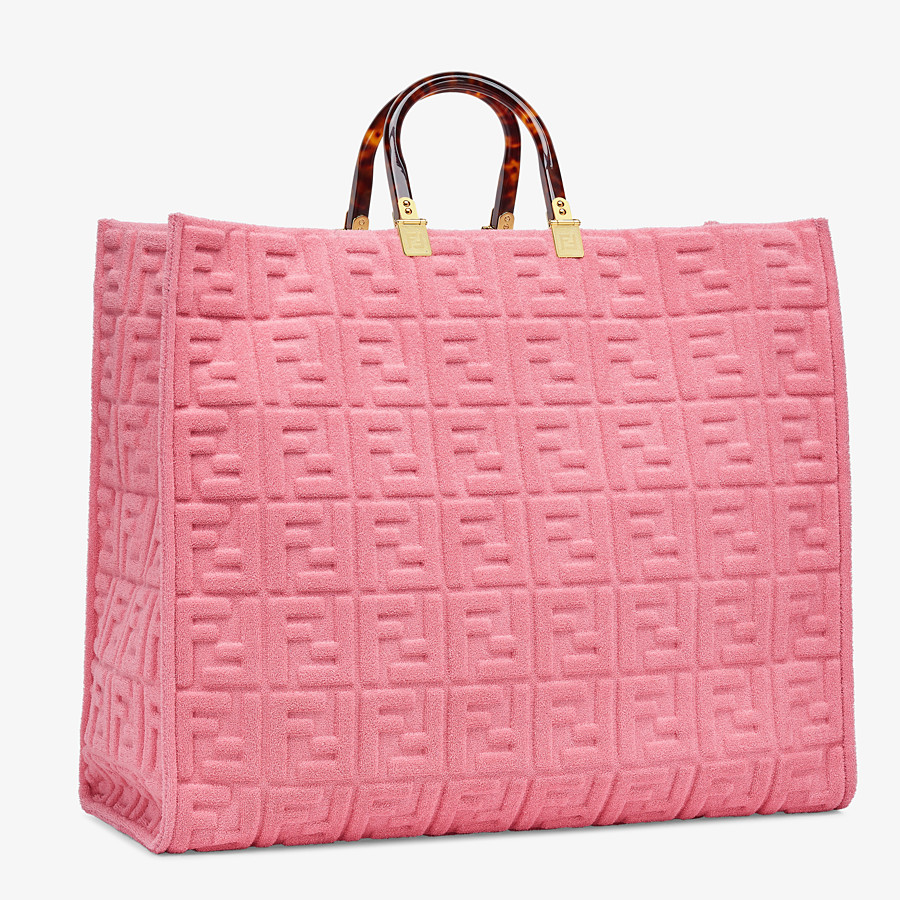 FENDI FENDI SUNSHINE XL - Pink terrycloth shopper - view 3 detail