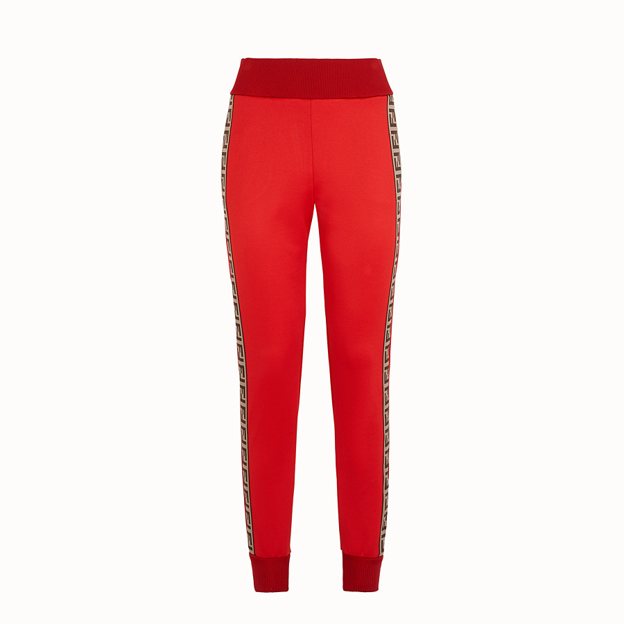 FENDI TROUSERS - Red jersey jogging trousers - view 1 detail
