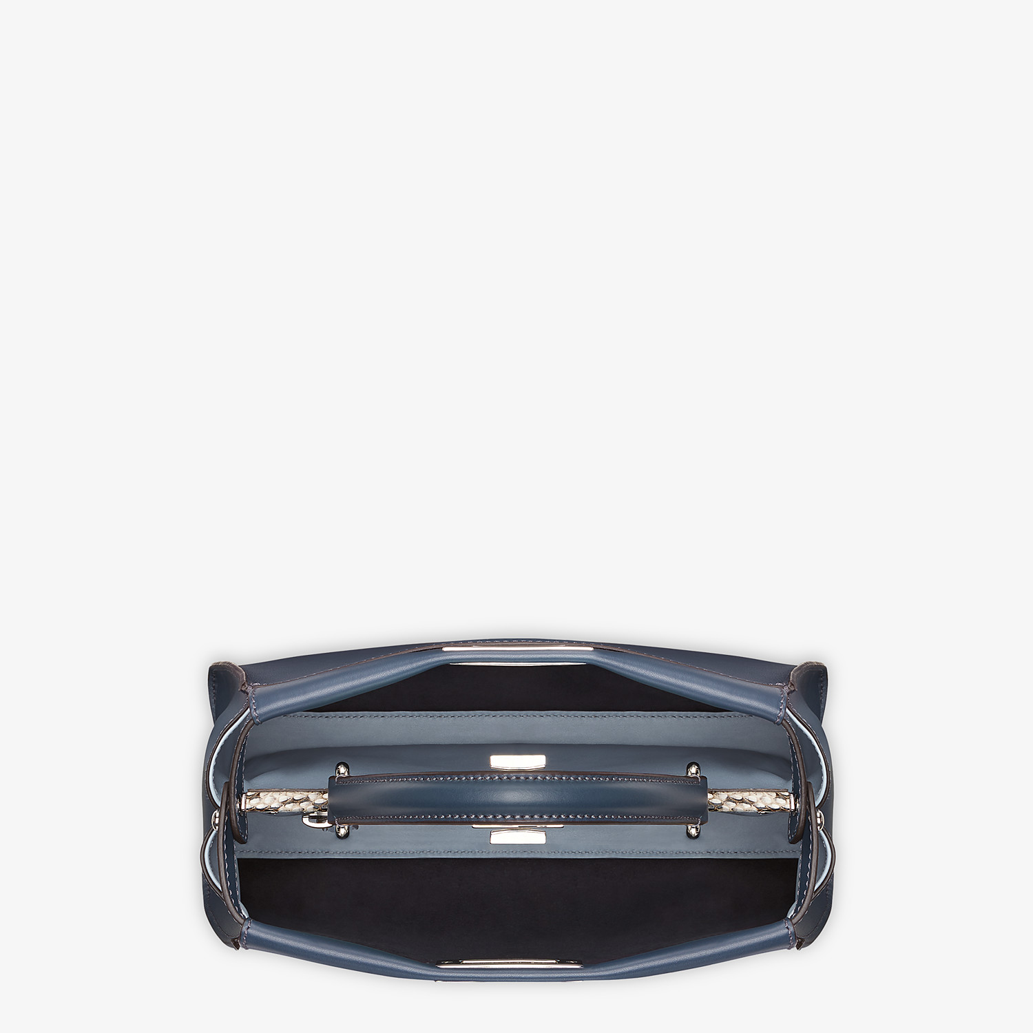 FENDI PEEKABOO ICONIC MEDIUM - Blue leather bag with exotic details - view 4 detail