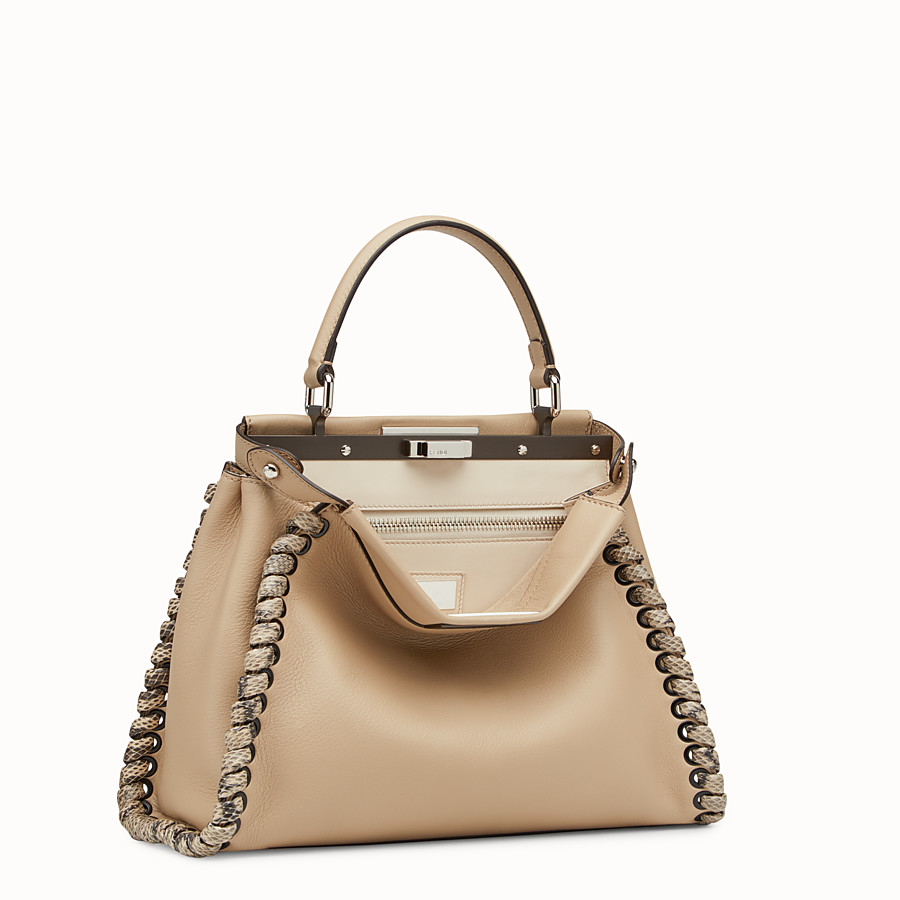 FENDI PEEKABOO REGULAR - Beige leather bag with exotic details - view 2 detail