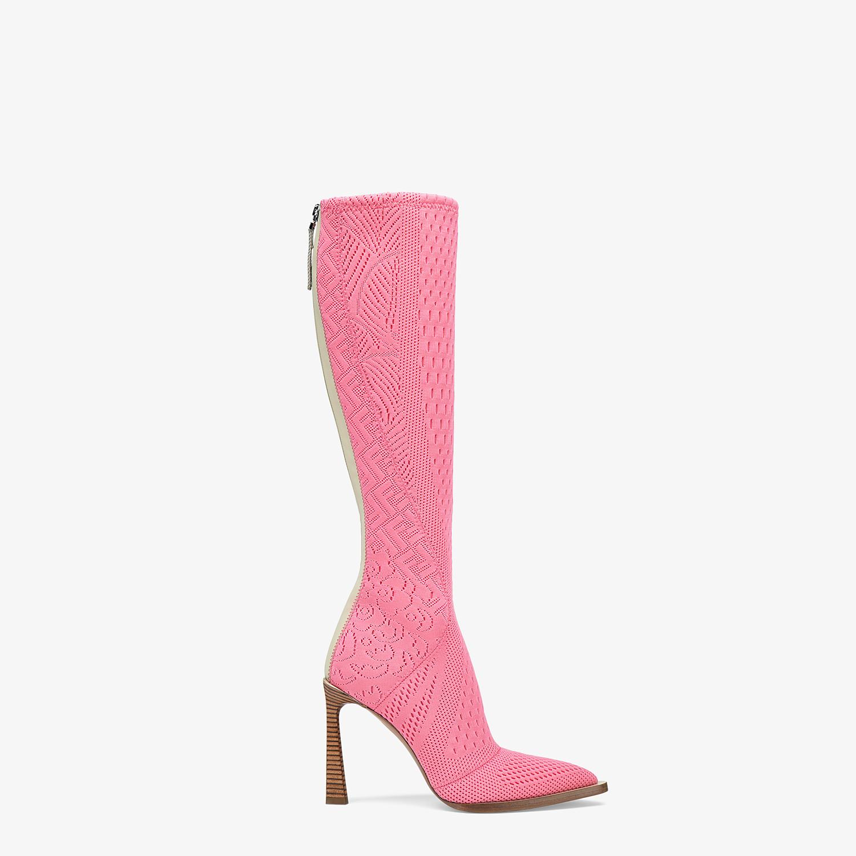 FENDI BOOTS - High-tech, pink jacquard boots - view 1 detail