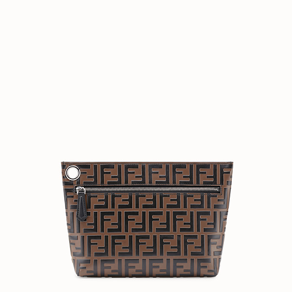 FENDI LARGE PYRAMID POUCH - Brown leather pouch - view 1 small thumbnail