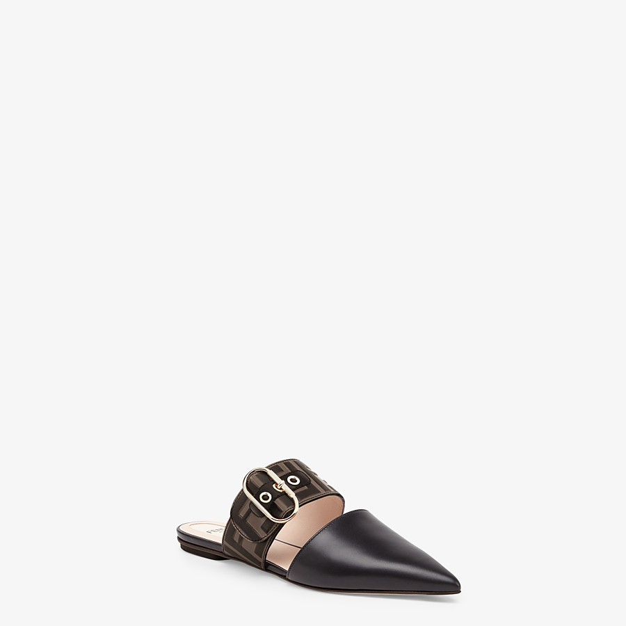 FENDI SLINGBACKS - Black leather slingbacks - view 2 detail