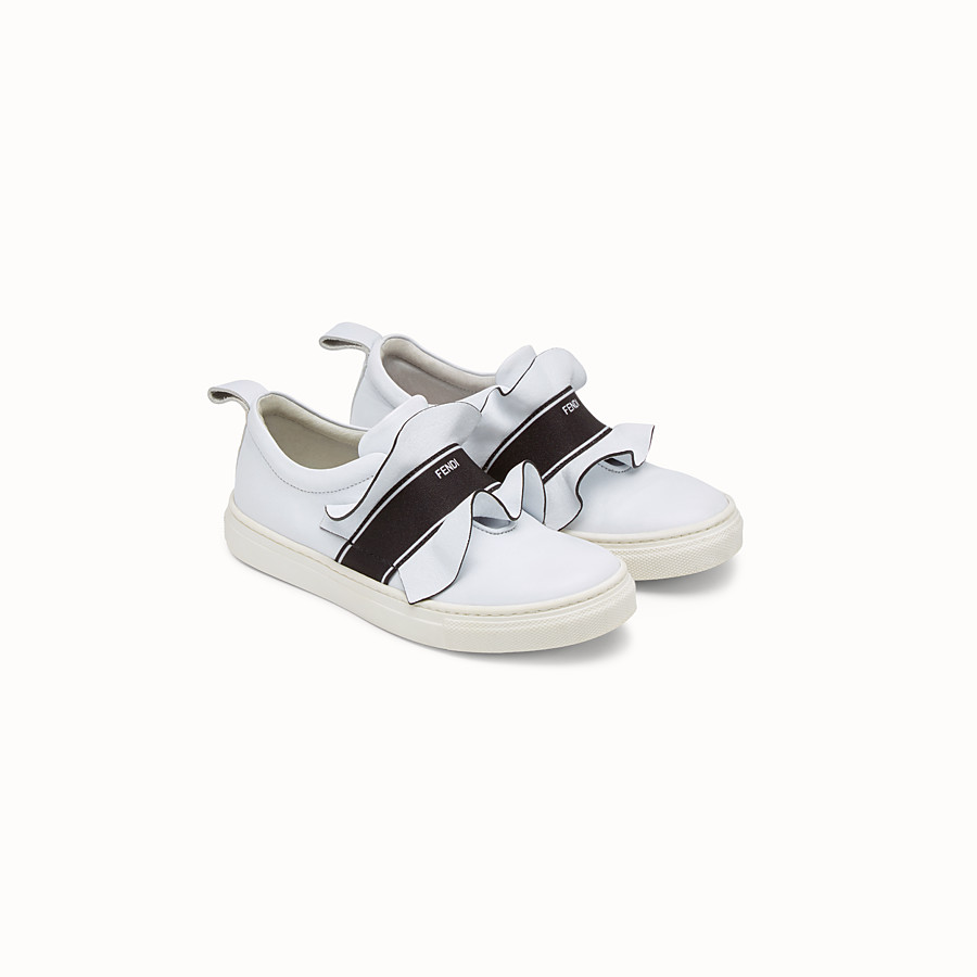 FENDI SNEAKERS - in white  and  black nappa - view 2 detail