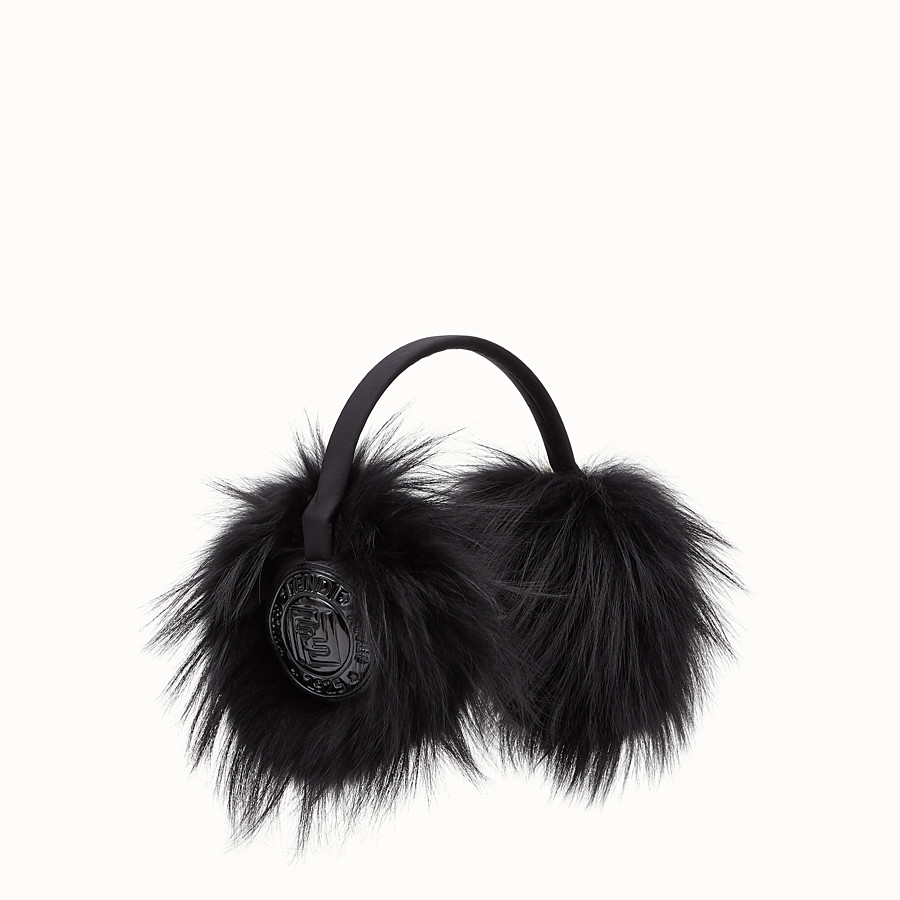 FENDI EARMUFFS - Black fur earmuffs - view 2 detail