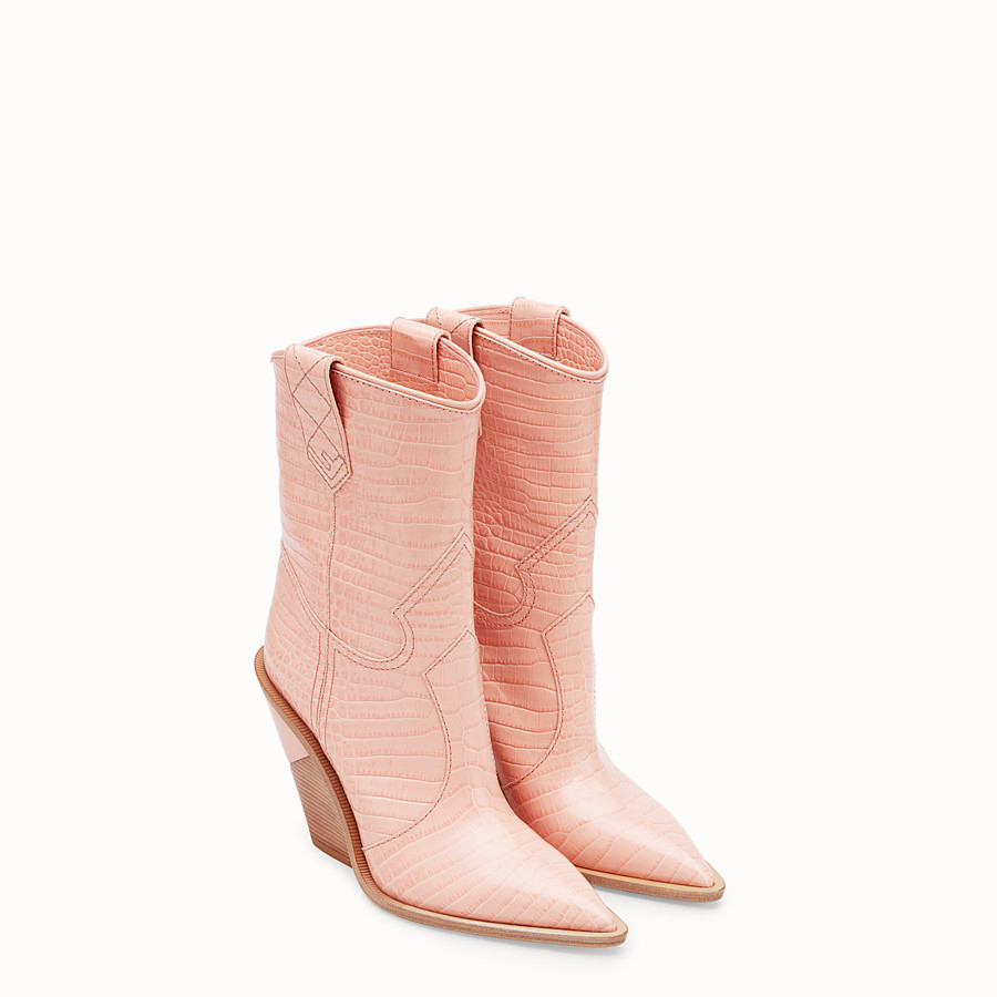 FENDI BOOTS - Pink crocodile-embossed ankle boots - view 4 detail