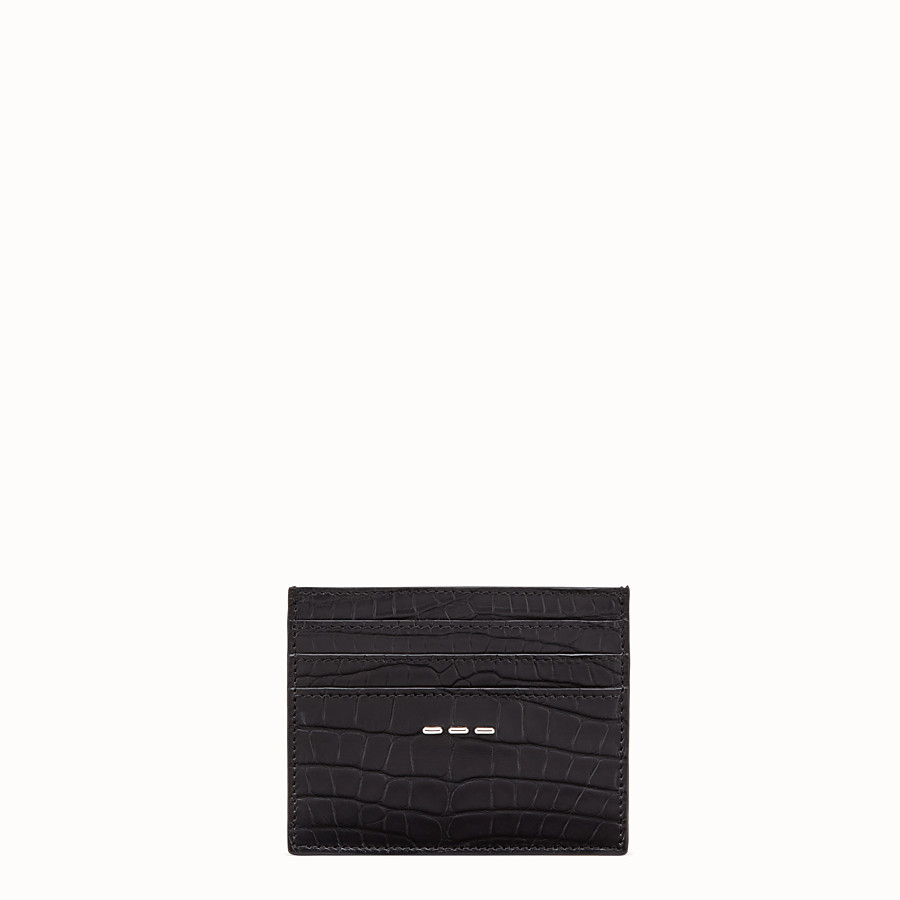 FENDI CARD HOLDER - Black alligator leather card holder - view 1 detail