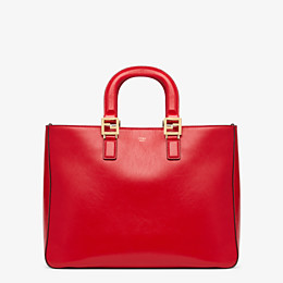 FENDI FF TOTE MEDIUM - Red leather bag - view 1 thumbnail
