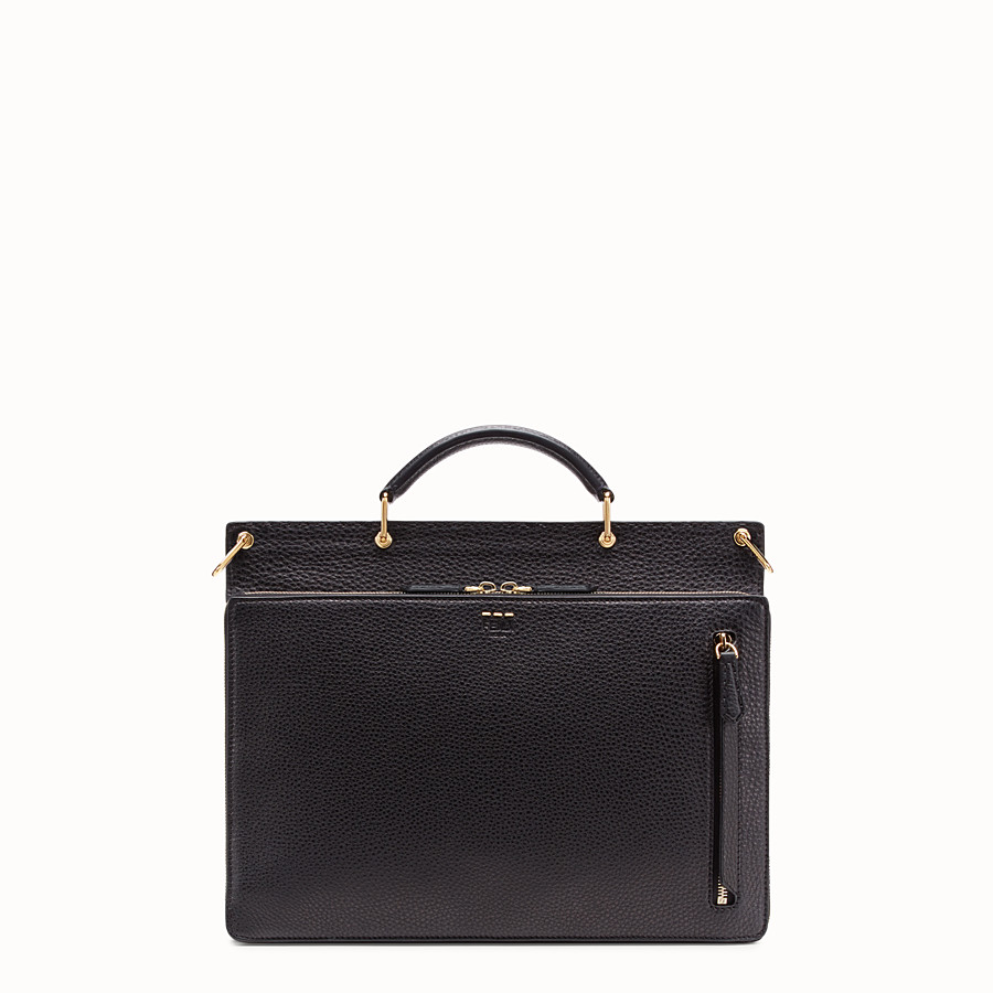 FENDI BUSINESS BAG - Black leather bag - view 3 detail