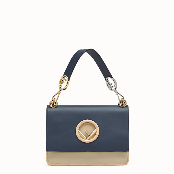 FENDI KAN I F - Pale blue leather bag with exotic details - view 1 small thumbnail