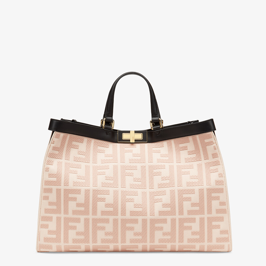 FENDI PEEKABOO X-TOTE - Embroidered pink canvas bag - view 1 detail