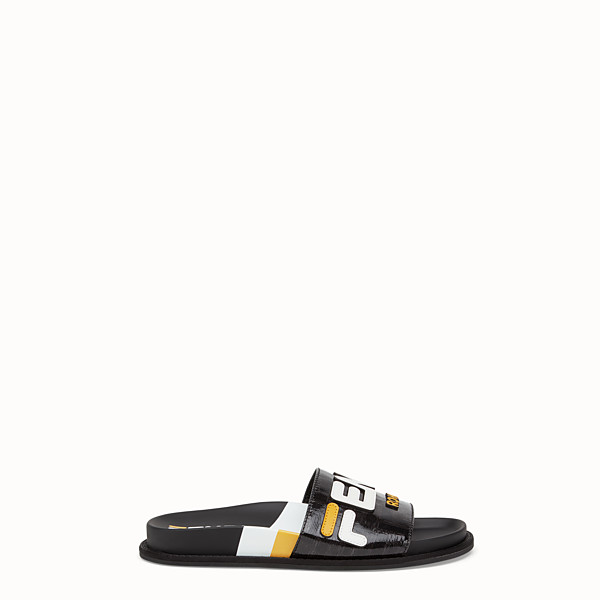 FENDI SLIDES - Black fabric slides - view 1 small thumbnail