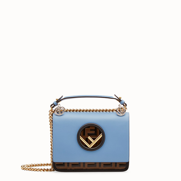 FENDI KAN I F SMALL - Pale blue leather minibag - view 1 small thumbnail