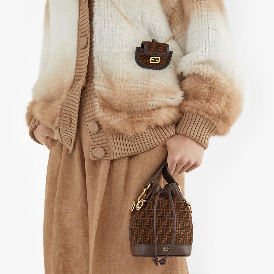 FENDI MON TRESOR - Brown leather mini-bag with FF print - view 2 detail