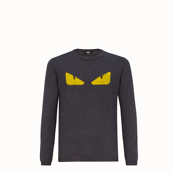 FENDI SWEAT-SHIRT - Pull à col rond en laine grise - view 1 small thumbnail