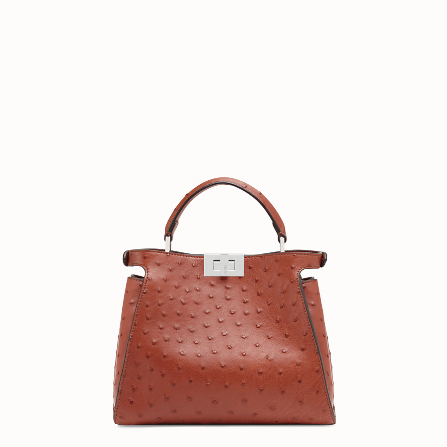 FENDI PEEKABOO ICONIC ESSENTIALLY - Red ostrich bag - view 3 detail