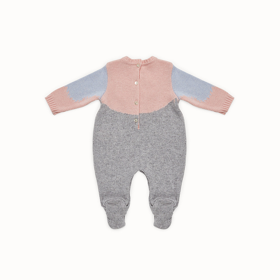 FENDI PLAYSUIT - Baby girl's grey and multicolour wool blend playsuit - view 2 detail