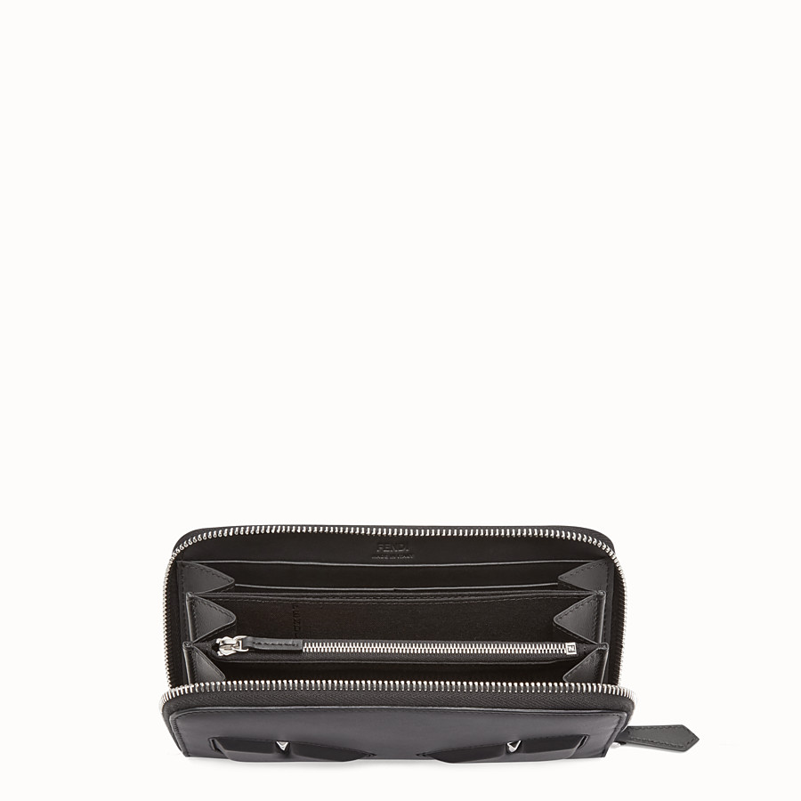 FENDI WALLET - Black leather zip-around - view 3 detail