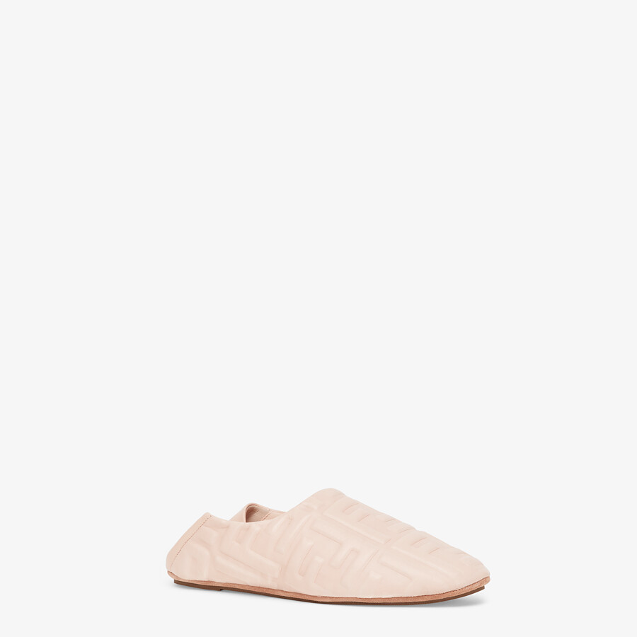 FENDI SLIPPERS - Pink nappa leather slippers - view 2 detail
