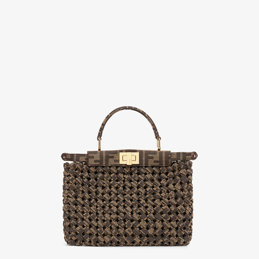 FENDI PEEKABOO ICONIC MINI - Jacquard fabric interlace bag - view 1 detail