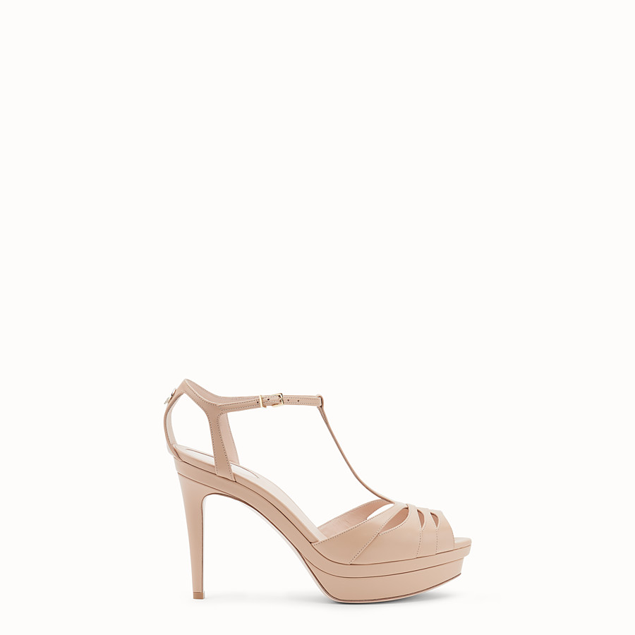 FENDI SANDALS - Pink leather high sandals - view 1 detail