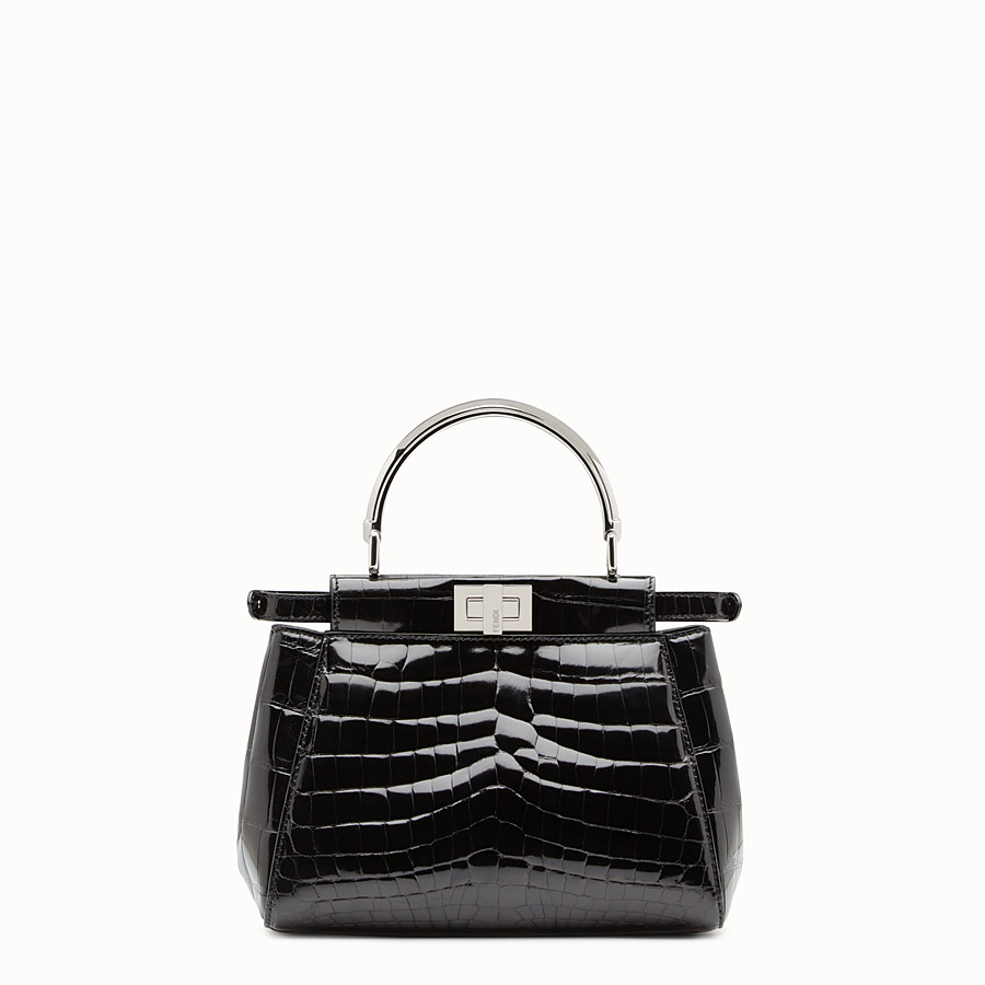 FENDI PEEKABOO MINI - Black crocodile leather handbag. - view 3 detail