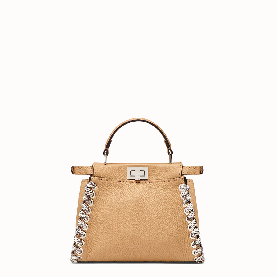 FENDI PEEKABOO MINI - Brown leather bag with exotic details - view 3 detail