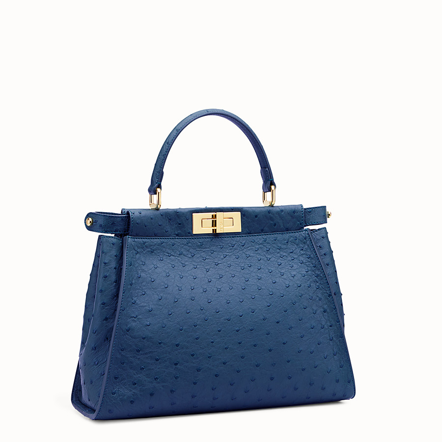 FENDI PEEKABOO REGULAR - Blue ostrich leather handbag. - view 2 detail