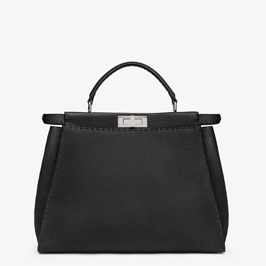 FENDI PEEKABOO ICONIC LARGE - Black leather handbag - view 4 detail