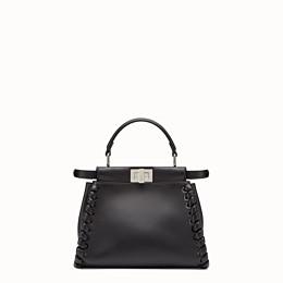 FENDI PEEKABOO ICONIC MINI - Handtasche aus schwarzem Nappaleder mit Webdetail - view 3 thumbnail