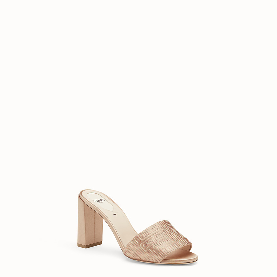 FENDI SABOTS - Beige satin high-heeled sandals - view 2 detail