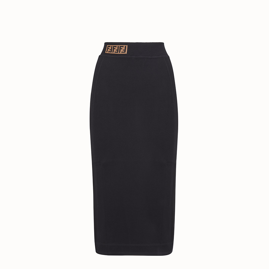 FENDI SKIRT - Black fabric skirt - view 1 detail